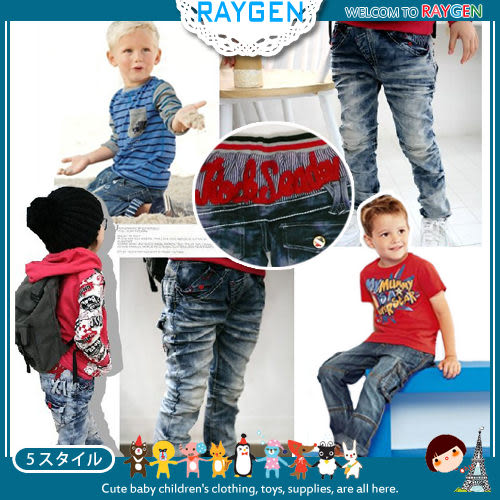 兒童個性口袋刷白抓皺牛仔褲/繡花圖案/中長褲
