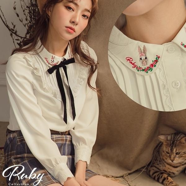 上衣 露比設計‧兔子娃娃領V字荷葉長袖上衣-Ruby s 露比午茶