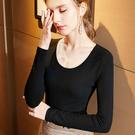 基礎版圓領內搭長袖磨毛T恤簡約素色上衣(S-3XL可選)/設計家 AL29895