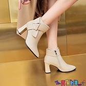 高跟短靴 2021秋冬季新款切爾西靴高跟短靴女粗跟尖頭顯瘦百搭短筒及踝靴女 寶貝計畫
