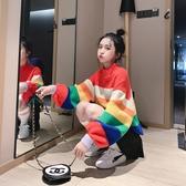 彩虹條紋慵懶風毛衣套頭女寬鬆韓版外套外穿半高領秋冬新款 韓小姐