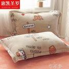 法蘭絨枕套一對裝冬季保暖雙人枕頭套單個單人枕芯內膽套珊瑚絨2 盯目家