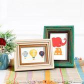 美式相框擺台可愛兒童掛墻6寸7寸10寸8開4KA4簡約創意畫框 深藏blue