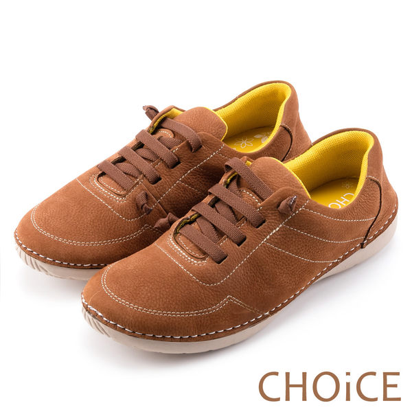 CHOiCE 休閒舒適 鬆緊帶反毛牛皮休閒鞋-棕色