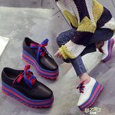 厚底鞋 女厚底系帶英倫學生休閒單鞋正韓潮百搭坡跟高跟女鞋 中元節禮物