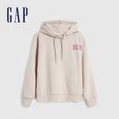 Gap女裝 Logo時尚印花寬鬆連帽休閒上衣 620498-米色