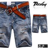 『潮段班』【SD033282】腰間繡標設計刷白貓鬚後口袋抓破牛仔短褲 五分褲 膝上褲