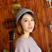 帽子女 針織帽 親子款成人韓版潮新款毛球帽可愛彈力抽條帽子毛線帽【多多鞋包店】yp56