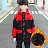 加絨加厚夾克外套兒童 7Plus羽絨外套男孩 運動秋冬男寶寶棉衣 衝鋒衣中大童韓版外套