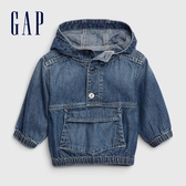 Gap嬰兒 時尚水洗連帽外套 577133-深水洗靛藍