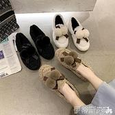 樂福鞋 毛毛鞋女外穿2021冬季新款韓版網紅百搭樂福鞋蝴蝶結一腳蹬豆豆鞋 非凡小鋪 新品