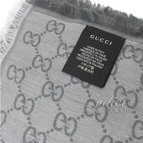 茱麗葉精品【全新現貨】GUCCI 281942 雙G緹花羊毛絲綢雙色流蘇圍巾.淺灰