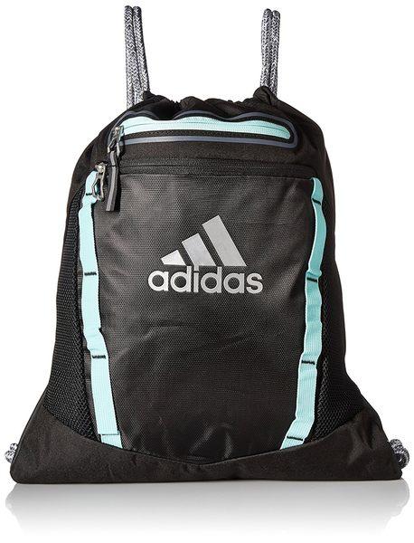 Adidas- 團隊Rumble運動後背袋(黑/藍綠色)