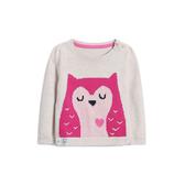Gap女嬰兒 圓領長袖套頭毛衣可愛針織衫 489856-米灰色