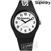 Superdry / SYG164BW / Urban 極度乾燥都市滑板少年矽膠腕錶 黑x白 38mm