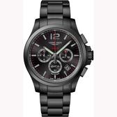 LONGINES 浪琴 征服者系列V.H.P.萬年曆計時手錶-鍍黑/43mm L37272566