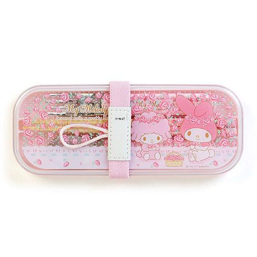 【震撼精品百貨】My Melody 美樂蒂~美樂蒂日本製餐具組附束帶(玫瑰花園)