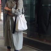 側背包 新款韓國chic兩側圓環可拆卸系帶水桶帆布包學生單肩包送備用肩帶 芭蕾朵朵