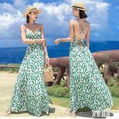 沙灘仙女連身裙2019夏季新款超仙森系小清新甜美溫柔吊帶長洋裝 mj15128『東京潮流』