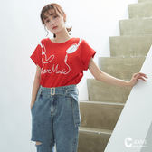 CANTWO JEANS LOVE MUSIC印繡花棉T-共兩色
