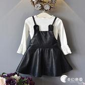 歐美風童裝女寶寶揹帶PU皮裙兩件套兒童套裝