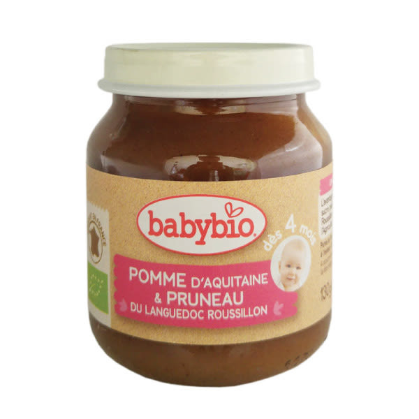BABYBIO 有機蘋果黑棗鮮果泥130ml (4個月以上適用)