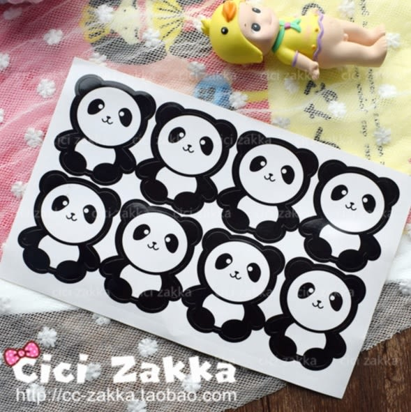 8入 熊貓封口貼 卡通貼紙 包裝貼紙 禮品貼紙 封口 裝飾 禮物黏口卡片 包裝 手作糖果 標貼 餅乾貼
