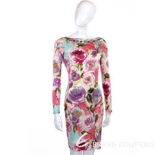 BLUGIRL 花卉圖騰寶石飾長袖洋裝(粉色) 0930192-05