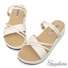 涼鞋 寬版雙斜帶兩穿厚底涼鞋-白