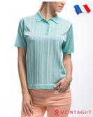 法國製造短袖POLO衫 夢特嬌亮絲系列女款知性直條紋-薄荷綠