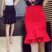 包臀裙荷葉邊魚尾半身裙女高腰彈力大碼包臀裙側拉錬職業裝 薔薇時尚
