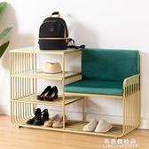 北歐創意皮革換鞋凳家用門口收納鞋櫃鐵藝換鞋絨布沙發簡約儲物椅 果果輕時尚NMS