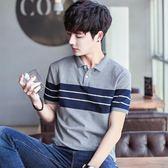 夏裝男士有領帶領短袖t恤翻領POLO衫男青年韓版修身半袖大碼潮流 免運