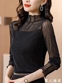 T恤衫 半高領打底衫女秋冬2020新款大碼加絨亮絲長袖內搭針織網紗上衣潮『麗人雅苑』