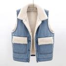 秋冬季羊羔毛加絨加厚牛仔馬甲女寬鬆韓版bf風棉馬夾背心坎肩外套 寶貝計劃