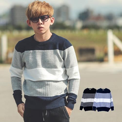 毛衣 韓國製立體織紋三色拼接針織毛衣【NB0429J】