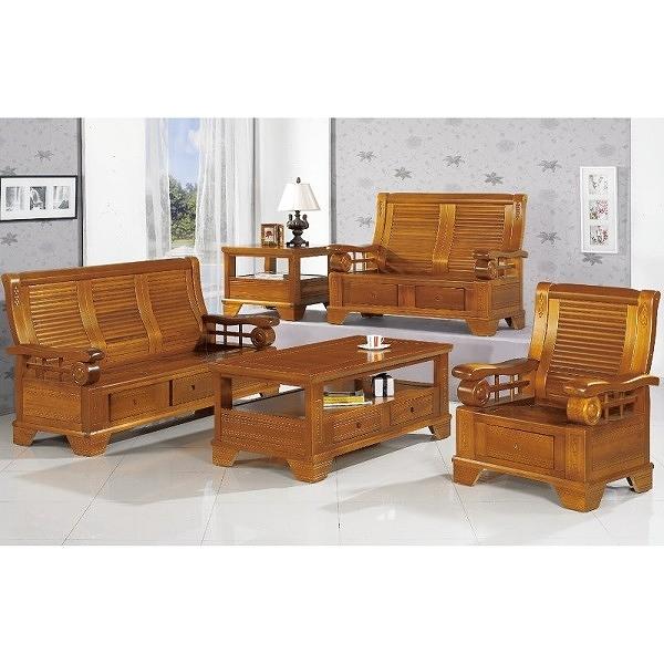 沙發 PK-302-7 108型柚木組椅(含茶几)【大眾家居舘】