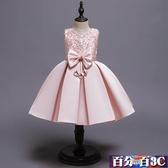 女童禮服 2020夏季新款串珠蝴蝶結兒童無袖洋裝連身裙中大童表演女孩蓬蓬裙子 百分百