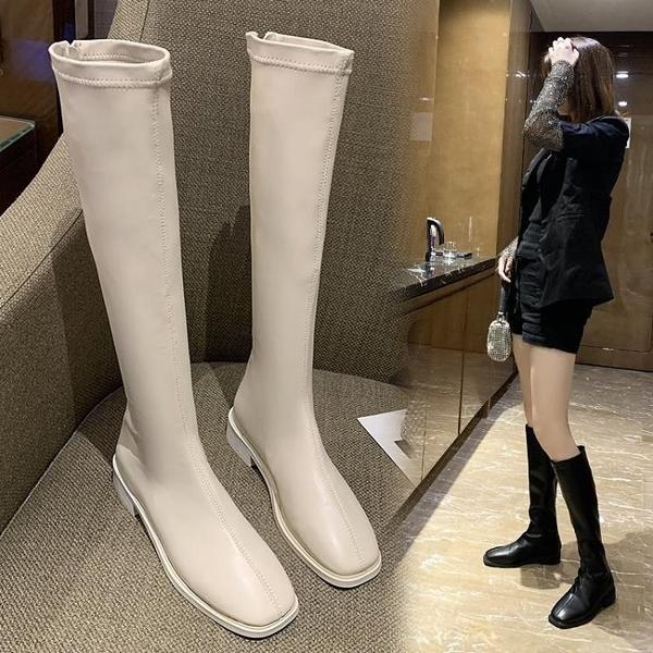 不過膝長靴女小個子中筒靴粗跟白色長筒騎士顯瘦高筒靴子春秋單靴 8號店