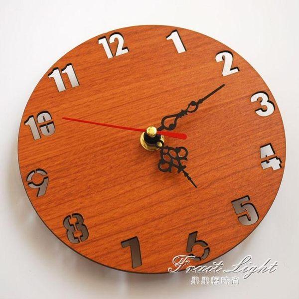 圓形時鐘掛牆壁石英鐘表靜音兒童房間餐廳