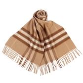 BURBERRY 經典格紋喀什米爾羊毛圍巾(駝色)089540-7