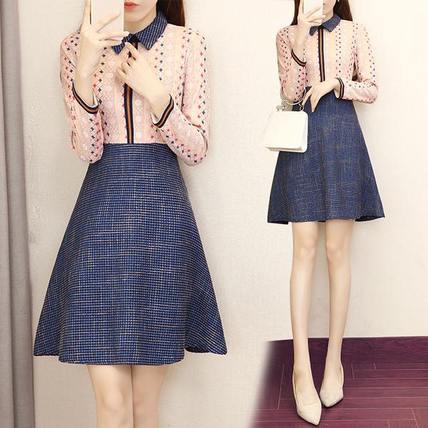 VK旗艦店 韓國風名媛修身娃娃領彩色蕾絲長袖洋裝
