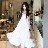 仙女甜美氣質小清新時尚純色露背背帶娃娃連身裙長裙洋裝