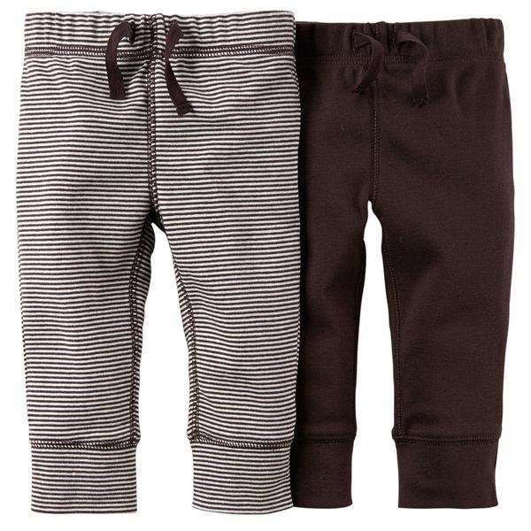 【美國Carter's】純棉長褲2件組 - 咖啡+條紋 121D556