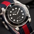 原廠平輸,保固一年 / 客服約定出貨日,約1-3個工作天 / 黑色啞光錶盤 / 藍紅尼龍錶帶