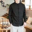 中國風男裝唐裝男士復古風潮牌刺繡盤扣改良漢服古裝大碼棉麻襯衫