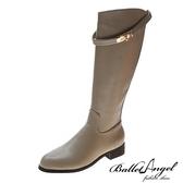 長靴 玩美造型金屬飾釦長筒跟靴(卡其)*BalletAngel【18-7716ca】【現+預】