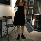 現貨 純色女學生背帶裙夏季韓版簡約口袋A字裙時尚牛仔連衣裙女短裙 細肩帶 洋裝連身裙