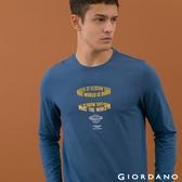 【GIORDANO】男裝經典標語印花T恤 - 22 靛藍