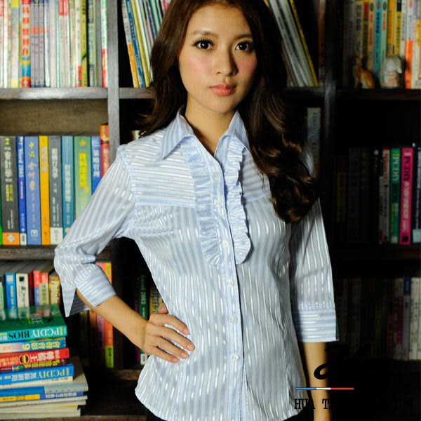 【大尺碼-HY-861-8GZ】華特雅-絲光亮眼OL花邊七分袖女襯衫(淺藍亮銀條紋)